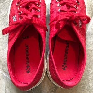 Superga Shoes - Superga red shoes in 37 1/2 VGU condition!